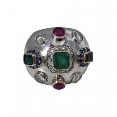 1960 s Sputnik Gold Diamond and Gemstone Ring  - 2072370