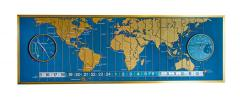 1960s Braniff Airlines World Map Doomsday Clock with Programmable Lighting - 1358436