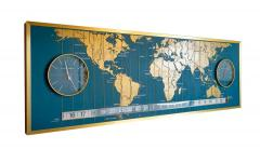 1960s Braniff Airlines World Map Doomsday Clock with Programmable Lighting - 1358437