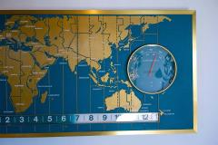 1960s Braniff Airlines World Map Doomsday Clock with Programmable Lighting - 1358438