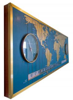 1960s Braniff Airlines World Map Doomsday Clock with Programmable Lighting - 1358442