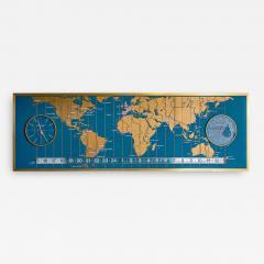 1960s Braniff Airlines World Map Doomsday Clock with Programmable Lighting - 1360055