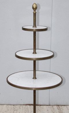 1960s Brass And Carrara Marble 3 Tier Display Shelf - 1943121