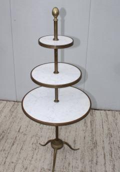 1960s Brass And Carrara Marble 3 Tier Display Shelf - 1943126