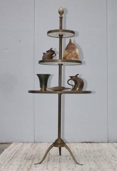 1960s Brass And Carrara Marble 3 Tier Display Shelf - 1943129