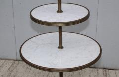 1960s Brass And Carrara Marble 3 Tier Display Shelf - 1943130