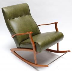 1960s Brazilian Rocking Chair in Green Leather - 275537