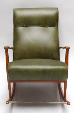 1960s Brazilian Rocking Chair in Green Leather - 275538