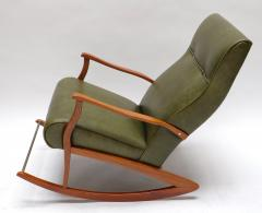 1960s Brazilian Rocking Chair in Green Leather - 275539