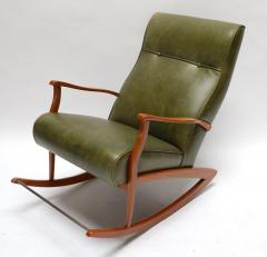 1960s Brazilian Rocking Chair in Green Leather - 275540