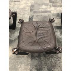 1960s Folke Ohlsson Scandinavian Leather Lounge Chairs Ottoman Set of 3 - 1355056