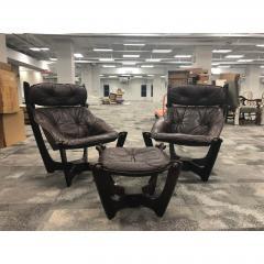 1960s Folke Ohlsson Scandinavian Leather Lounge Chairs Ottoman Set of 3 - 1355057