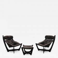 1960s Folke Ohlsson Scandinavian Leather Lounge Chairs Ottoman Set of 3 - 1355891