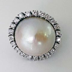 1960s French 18 Karat Mabe Pearl and Diamond Ring - 1819649