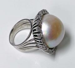1960s French 18 Karat Mabe Pearl and Diamond Ring - 1819650
