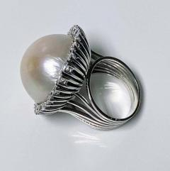 1960s French 18 Karat Mabe Pearl and Diamond Ring - 1819652