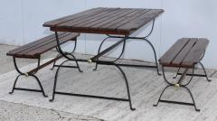 1960s French Style Indoor Outdoor Dining Table With Matching Benches - 1448708
