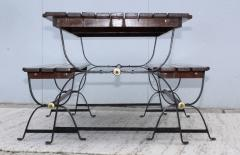 1960s French Style Indoor Outdoor Dining Table With Matching Benches - 1448709