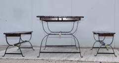 1960s French Style Indoor Outdoor Dining Table With Matching Benches - 1448710