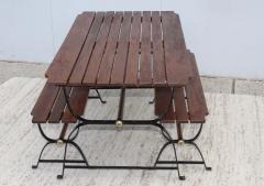 1960s French Style Indoor Outdoor Dining Table With Matching Benches - 1448711