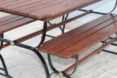 1960s French Style Indoor Outdoor Dining Table With Matching Benches - 1448713