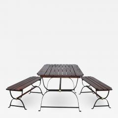 1960s French Style Indoor Outdoor Dining Table With Matching Benches - 1449566