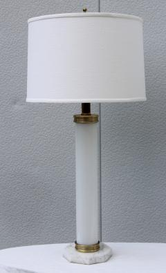 1960s Glass And brass With Marble Base Italian Table Lamps - 1988111