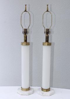 1960s Glass And brass With Marble Base Italian Table Lamps - 1988112