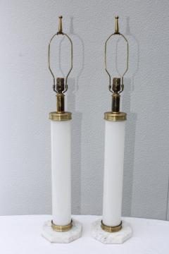 1960s Glass And brass With Marble Base Italian Table Lamps - 1988114
