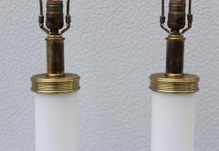 1960s Glass And brass With Marble Base Italian Table Lamps - 1988115