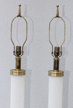 1960s Glass And brass With Marble Base Italian Table Lamps - 1988116