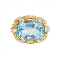 1960s Gold Aquamarine and Diamond Cocktail Ring - 665580