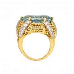 1960s Gold Aquamarine and Diamond Cocktail Ring - 665581