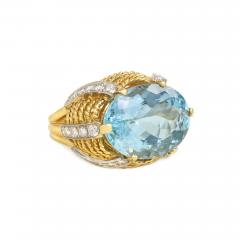 1960s Gold Aquamarine and Diamond Cocktail Ring - 665928