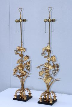 1960s Grape Vine Gilt Tall Table Lamps - 1943095