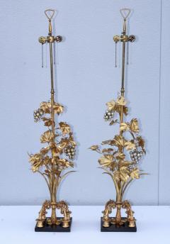 1960s Grape Vine Gilt Tall Table Lamps - 1943097