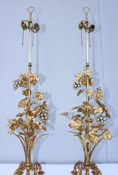 1960s Grape Vine Gilt Tall Table Lamps - 1943101