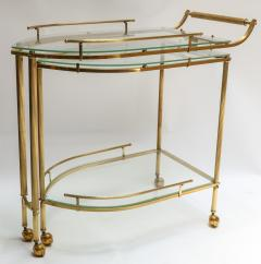 1960s Italian Brass Bar Cart with Swing out Glass Shelves - 1062284