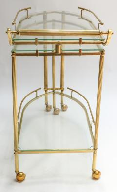 1960s Italian Brass Bar Cart with Swing out Glass Shelves - 1077272