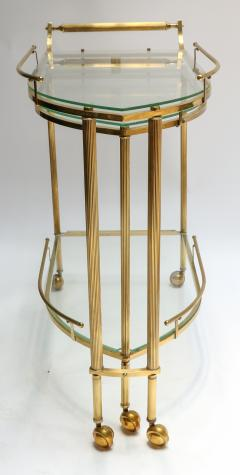 1960s Italian Brass Bar Cart with Swing out Glass Shelves - 1077273