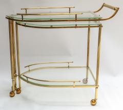 1960s Italian Brass Bar Cart with Swing out Glass Shelves - 1077275