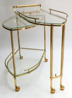1960s Italian Brass Bar Cart with Swing out Glass Shelves - 1077277
