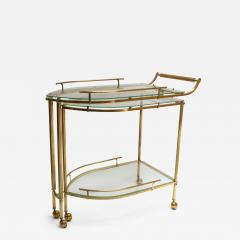 1960s Italian Brass Bar Cart with Swing out Glass Shelves - 1077972