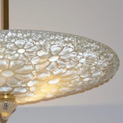 1960s Italian Ivory Flower Embossed Murano Glass Brass Flushmount Pendant - 1254831