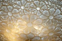1960s Italian Ivory Flower Embossed Murano Glass Brass Flushmount Pendant - 1254835
