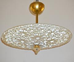 1960s Italian Ivory Flower Embossed Murano Glass Brass Flushmount Pendant - 1254836