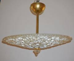1960s Italian Ivory Flower Embossed Murano Glass Brass Flushmount Pendant - 1254837