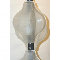 1960s Italian Pair of Minimalist White and Black Organic Chrome Floor Lamps - 1571157