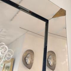 1960s Italian Vintage Minimalist Black Glass Brutalist Brass Wall Mirror - 2067794