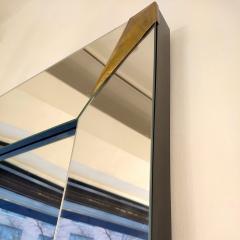 1960s Italian Vintage Minimalist Black Glass Brutalist Brass Wall Mirror - 2067795